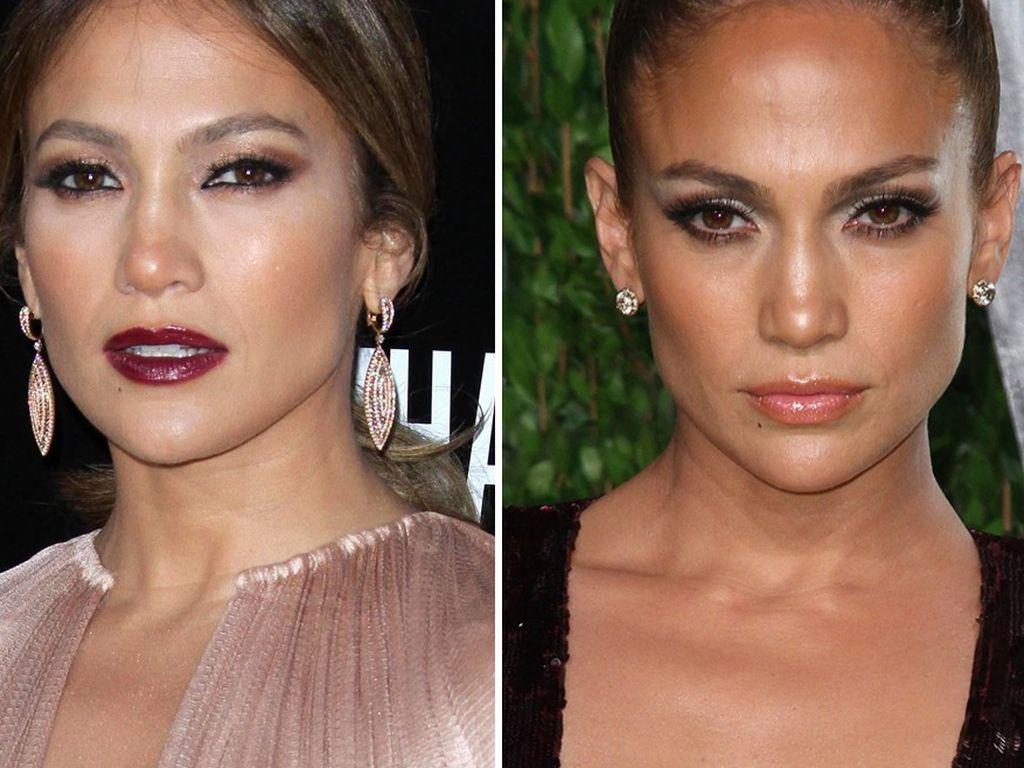 Jennifer Lopez mit verschiedenen Make-up Looks