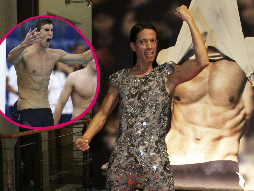 Jorge Gonzalez posiert mit Michael Phelps