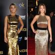 Jennifer Lawrence erschien zu zwei Premieren in goldenen Kleidern