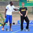 Aber offenbar hatte er sichtlich Spaß am Sprint-Training mit dem Olympia-Sieger