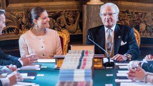 Carl Gustav und Viktoria von Schweden bei konferenz
