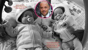 Christian Tews mit seinen Zwillingen in einer Collage