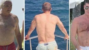 Flavio Briatore schaut auf Lukas Podolski und Simon Cowell