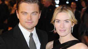 Kate Winslet und Leonardo DiCaprio posieren auf dem Red Carpet