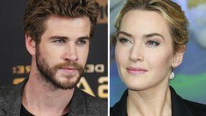 Kate Winslet und Liam Hemsworth gucken sich an Collage