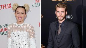 Miley Cyrus mit Zöpfen und Liam Hemsworth im Anzug
