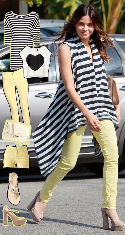 Hingucker: Jenna Dewan setzt starke Kontraste zur gelben Hose