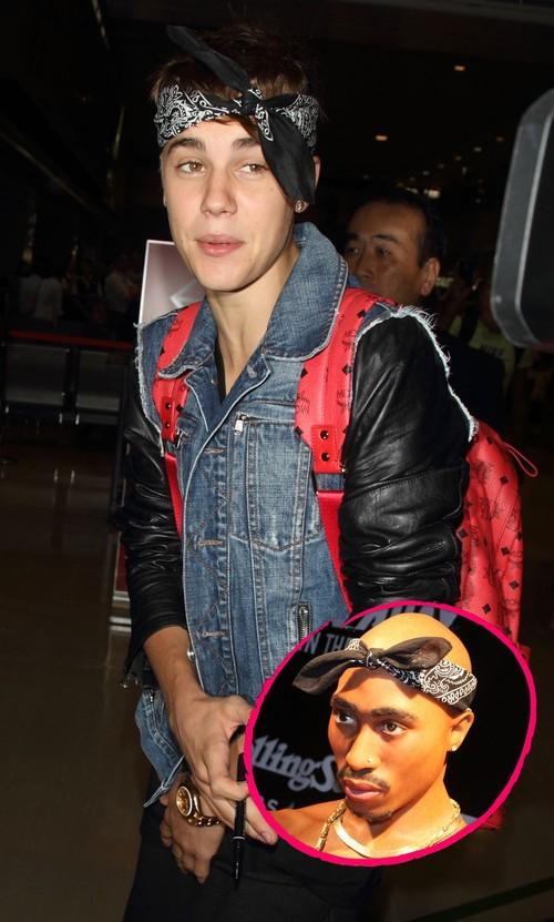 Justin Bieber setzt auf ein Bandana im Tupac-Style