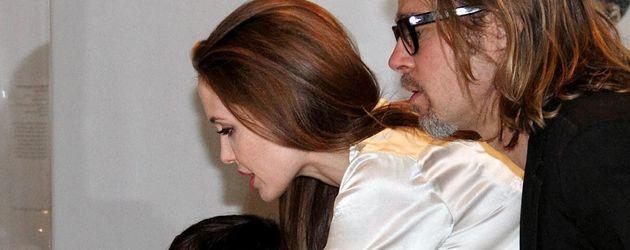 Angelina Jolie, Brad Pitt und Pax vor einer Vitrine