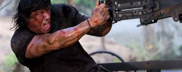 Sylvester Stallone als verschwitzter John Rambo
