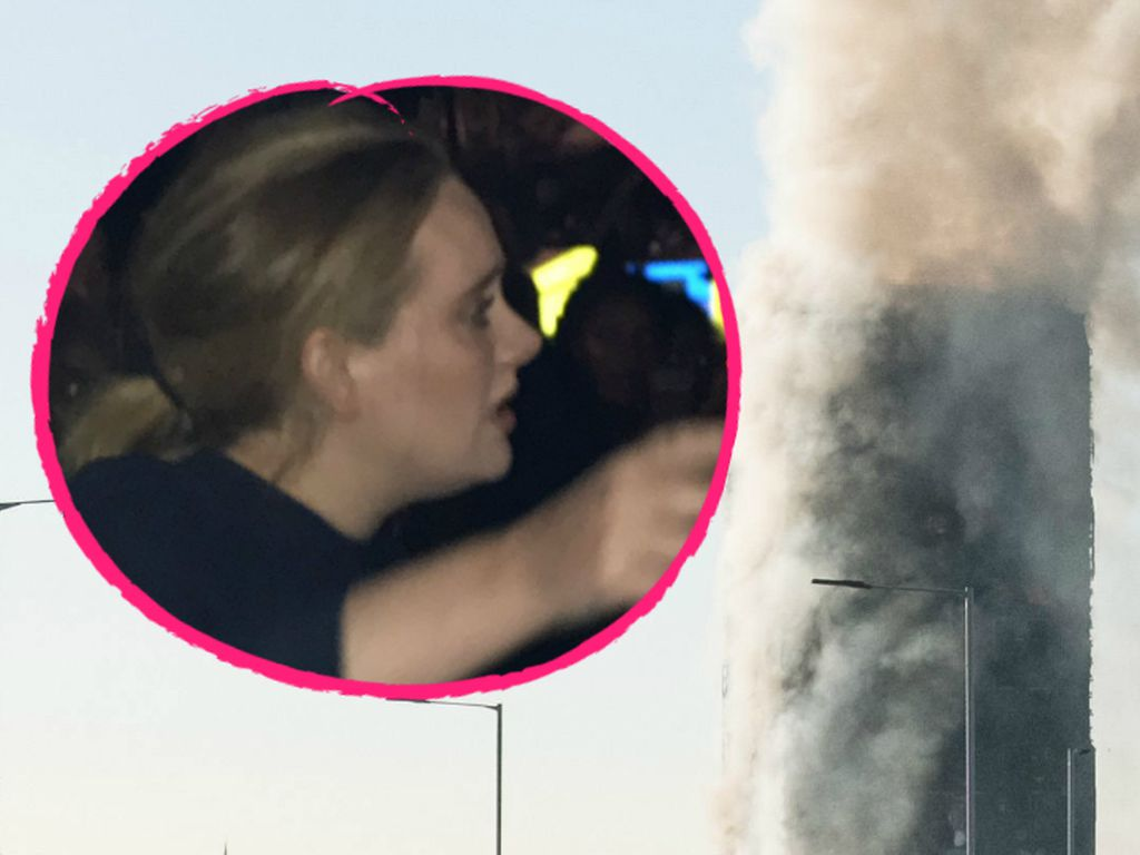 Adele am brennenden Grenfell Tower in London