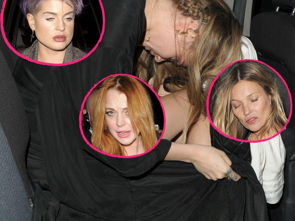 Cara Delevingne, Kate Moss, Kelly Osbourne und Lindsay Lohan