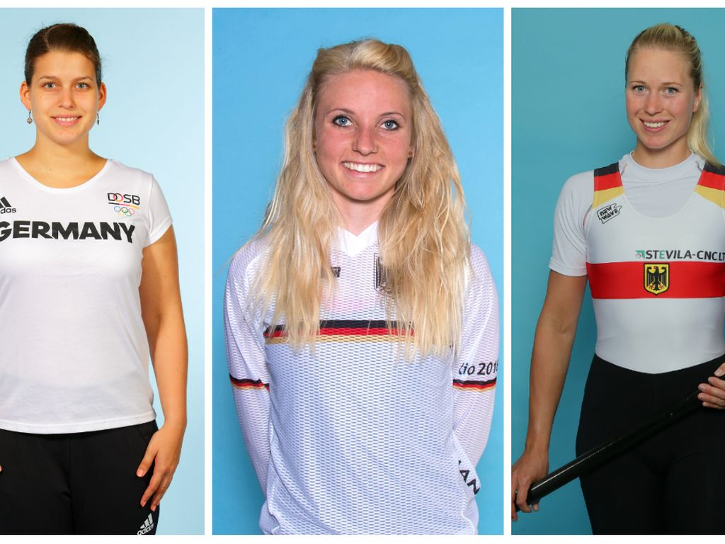 Ruderin Julia Lier, Tischtennis-Spielerin Petrissa Solja und BMX-Fahrerin Nadja Pries