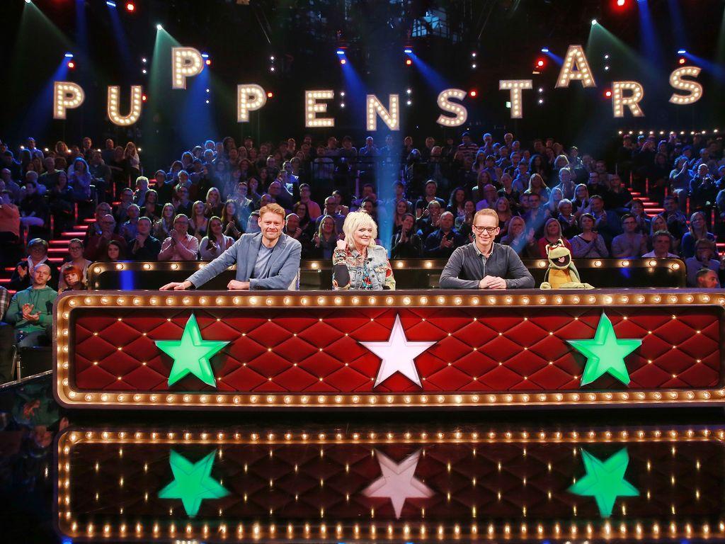"""Max Giermann, Gaby Köster und Martin Reinl in der Jury von """"Die Puppenstars"""""""