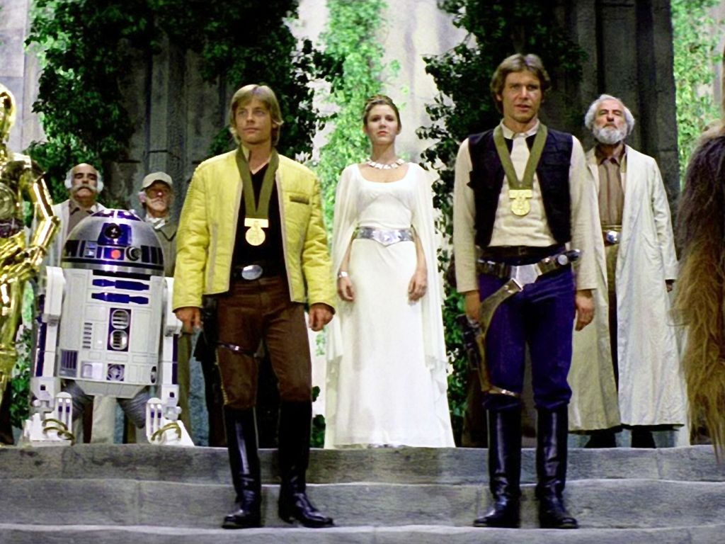 Mark Hamill, Carrie Fisher und Harrison Ford (v.l.n.r.)