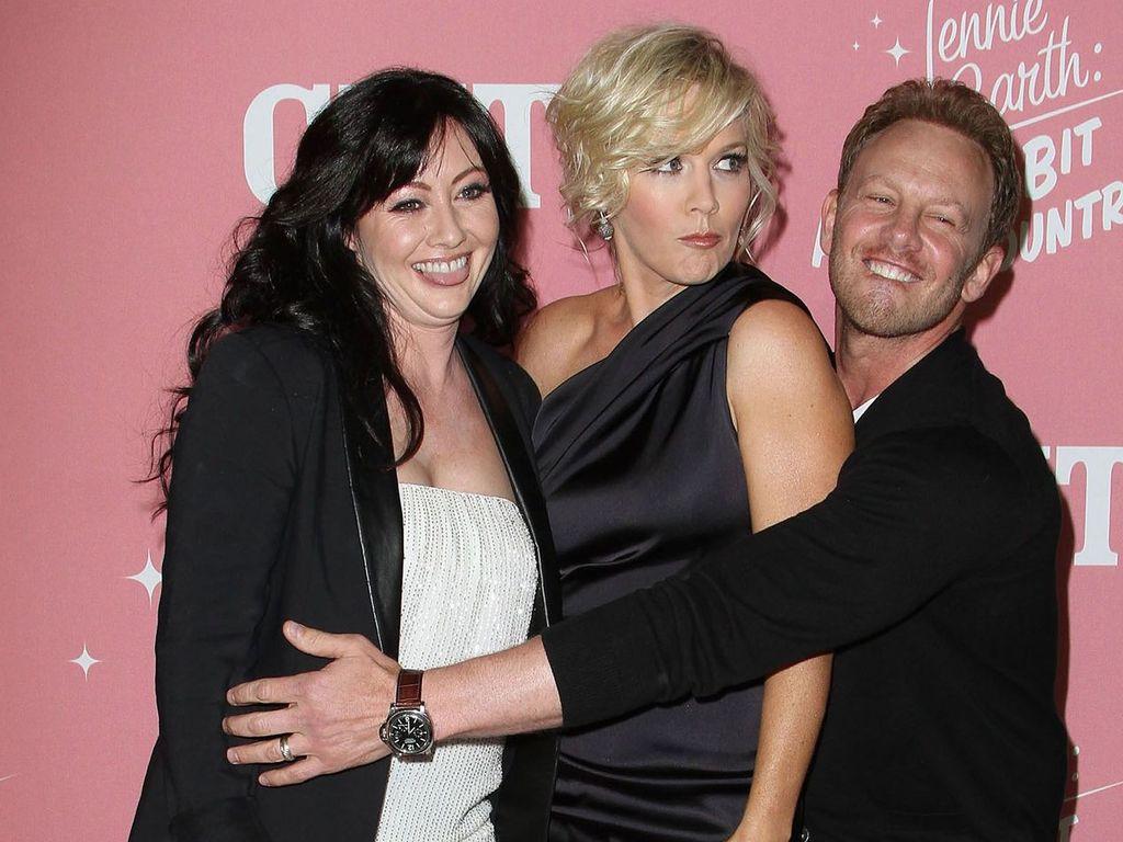 Shannen Doherty, Jennie Garth und Ian Ziering auf Jennies 40. Geburtstag