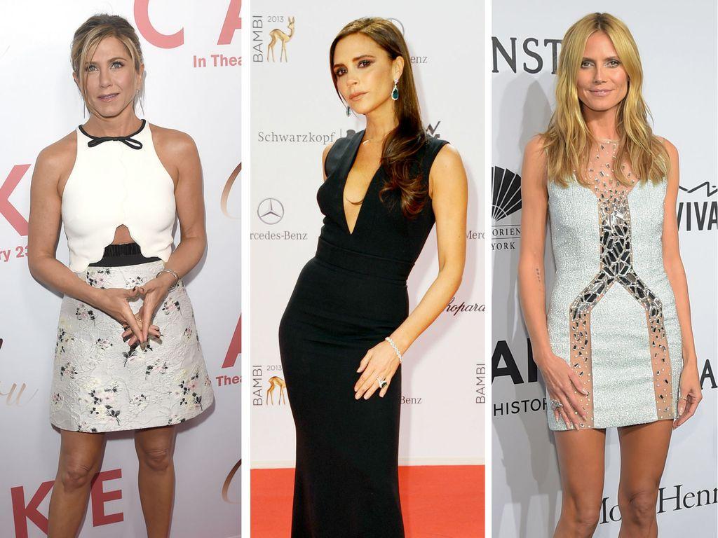 Jennifer Aniston, Heidi Klum und Victoria Beckham