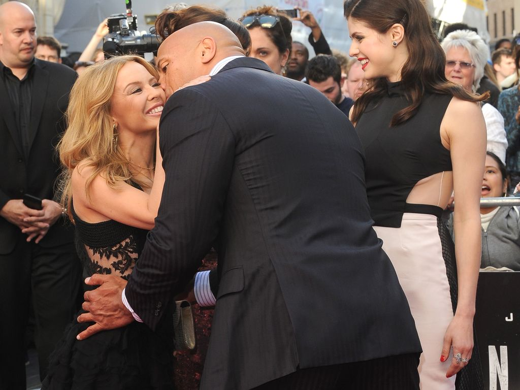 "Kylie Minogue und Dwayne ""The Rock"" Johnson"