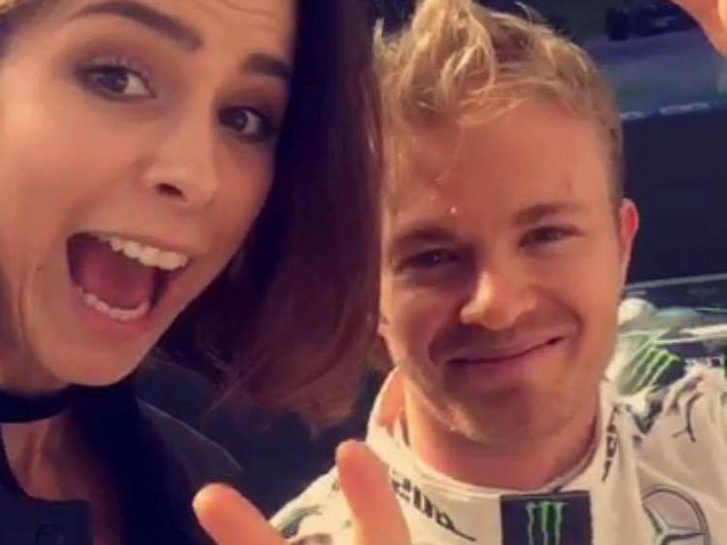 Lena Meyer-Landrut und Nico Rosberg nach dem Formel 1-Qualifying