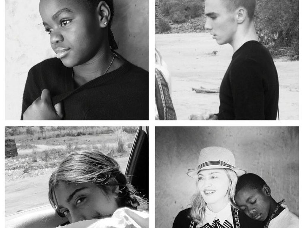 Mercy James, Rocco, Lourdes und David auf einem von Madonna bei Instagram veröffentlichtem Foto