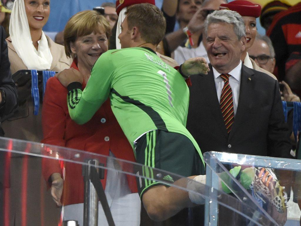 Manuel Neuer, Angela Merkel und Joachim Gauck