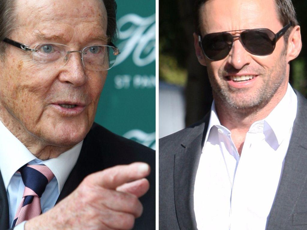 Hugh Jackman und Roger Moore