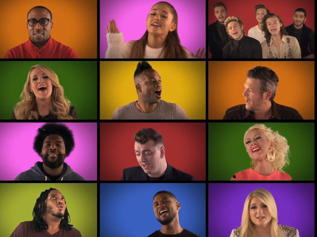 Christina Aguilera, Ariana Grande, Jimmy Fallon, Usher und Meghan Trainor