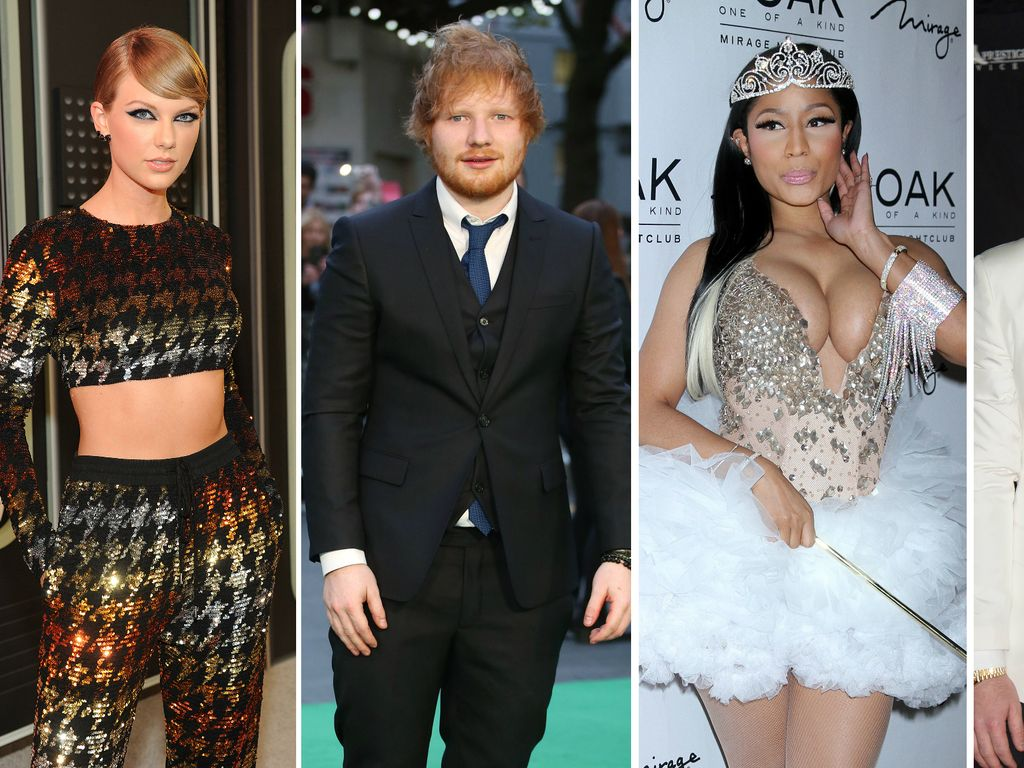 Taylor Swift, Ed Sheeran, Sam Smith und Nicki Minaj