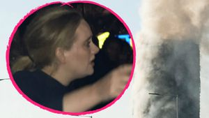 Adele am brennenden Grenfell Tower in London