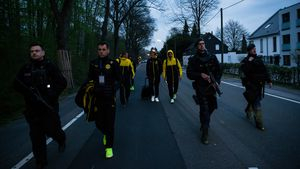 BVB-Spieler nach dem Anschlag auf den Mannschaftsbus