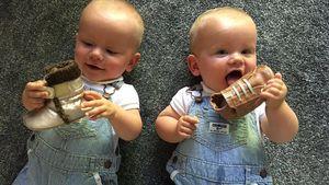 Schon echte Ladys! Christian Tews' Zwillinge im Schuh-Rausch