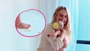 Beim Shooting: Elyse Knowles wurde von ihrem Baby angekackt