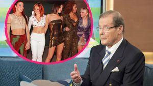 Die Spice Girls und Roger Moore