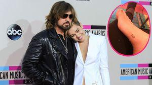 Collage von Billy Ray Cyrus mit Miley Cyrus und ihrem neuen Tattoo am Fuß