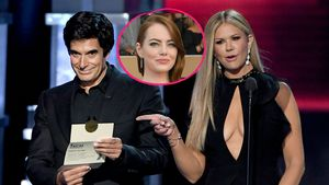 Collage von David Copperfield, Nancy O'Dell und Emma Stone