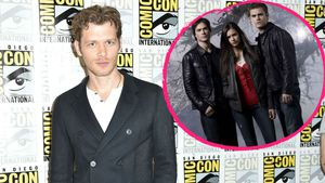 Collage von Joseph Morgan und den drei Hauptdarstellern von Vampire Diaries