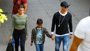Georgina Rodriguez, Cristiano Ronaldo Jr. und Cristiano Ronaldo in Madrid
