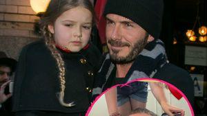 Supersüß: Harper Seven macht Daddy David Beckham hübsch!