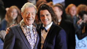 """Ian McKellen und Orlando Bloom bei der """"Hobbit""""-Premiere, 2014"""