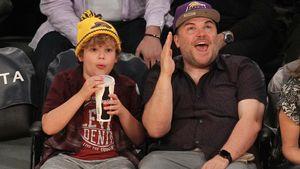Jack Black und Sohn Samuel bei einem Spiel der LA Lakers