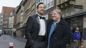 """Jan Josef Liefers und Axel Prahl am """"Tatort""""-Set"""