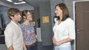 Katja Sieder, Merlin Leonhardt und Ulrike Frank am GZSZ-Set
