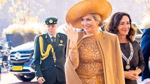 Goldener Herbstlook: Königin Máxima strahlt in Spitzenkleid