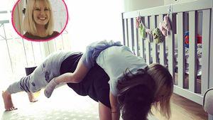 Monica Ivancan mit Töchterchen Rosa beim Sporteln