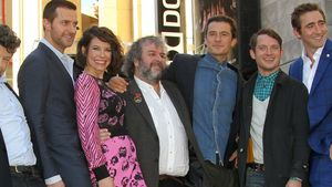 Orlando Bloom, Evangeline Lilly, Andy Serkis und Peter Jackson