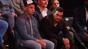 "Pietro Lombardi, Stefano Zarrella und Bastiaan Ragas (Mitte hinten) im ""Let's Dance""-Publikum"