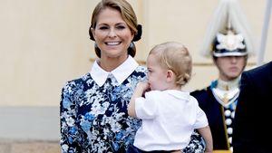 Prinzessin Madeleine mit Sohn Prinz Nicolas bei der Taufe von Prinz Alexander