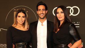 """Sami Slimani mit seinen Schwestern Dounia (r.) und Lamiya (l.) beim """"Place To B Influencer Award"""""""