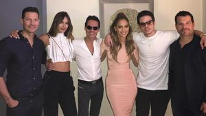 Shannon de Lima, Marc Anthony, Jennifer Lopez und Casper Smart backstage bei JLos Show in Las Vegas