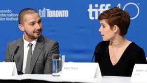 """Shia LaBeouf und """"Man Down""""-Kollegin Kate Mara bei einer der Pressekonferenz zum Film"""